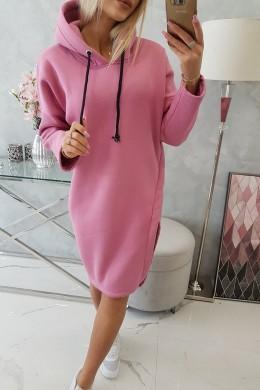 Džemperis - suknelė su gobtuvu ir skeltuku (Rožinė)
