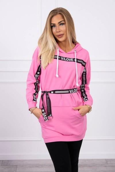 """Suknelė – džemperis su užrašu """"V/Love"""" (Šviesiai rožinė)"""