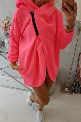 Oversize bliuzonas su mini užtrauktuku (Rožinė neoninė)