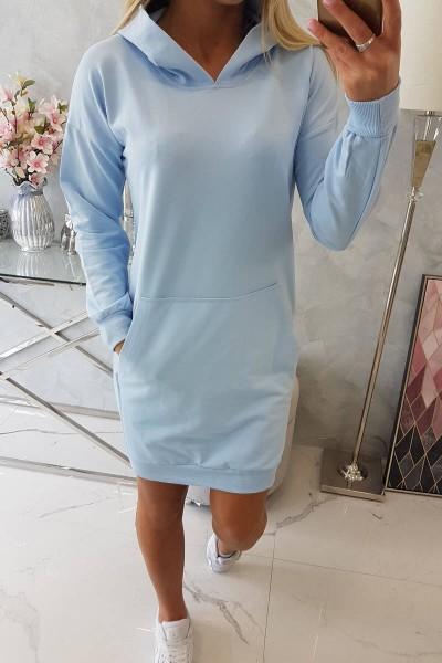 Vienspalvė suknelė džemperis su gobtuvu (Žydra)
