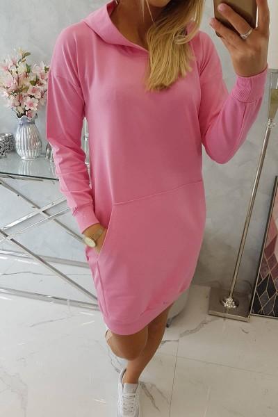 Vienspalvė suknelė džemperis su gobtuvu (Šviesiai rožinė)