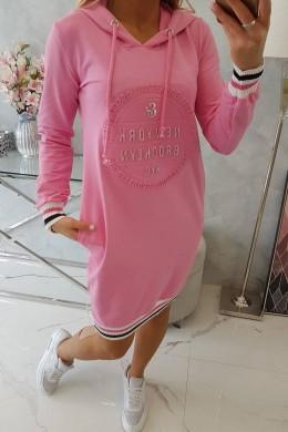 """Suknelė su gobtuvu """"NewYork Brooklyn"""" (Šviesiai rožinė)"""