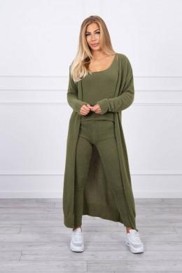 Jaukus trijų dalių kostiumėlis su ilgu megztiniu (Khaki)