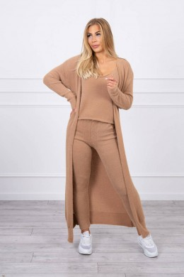 Jaukus trijų dalių kostiumėlis su ilgu megztiniu (Ruda)