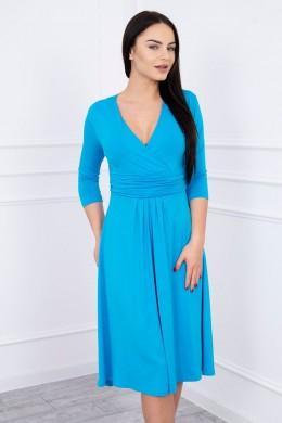 Suknelė su iškirpte, 3/4 rankovės (Turkio spalva)