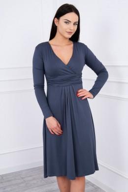 Suknelė su lengvai aptemta zona po krūtine (Grafitinė)