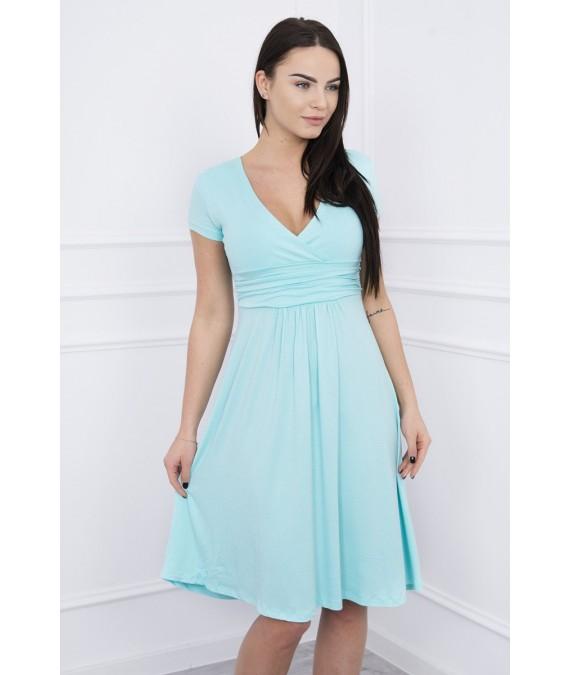 Suknelė su lengvai aptemta zona po krūtine, trumpomis rankovėmis (Mėtos)