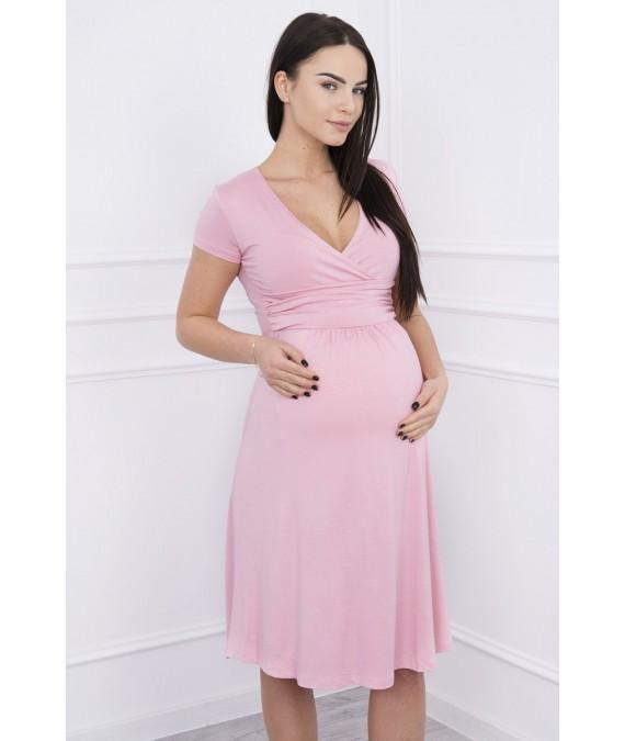 Suknelė su lengvai aptemta zona po krūtine, trumpomis rankovėmis (Šviesiai) (Rožinė)