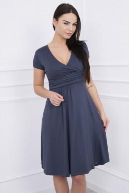 Suknelė su lengvai aptemta zona po krūtine, trumpomis rankovėmis (Grafito)