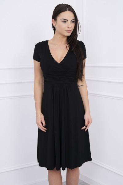 Suknelė su lengvai aptemta zona po krūtine, trumpomis rankovėmis (Juoda)