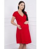 Suknelė su lengvai aptemta zona po krūtine, trumpomis rankovėmis (Raudona)