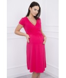 Suknelė su lengvai aptemta zona po krūtine, trumpomis rankovėmis (Fuksijos)