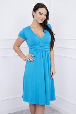 Suknelė su lengvai aptemta zona po krūtine, trumpomis rankovėmis (Turkio spalva)