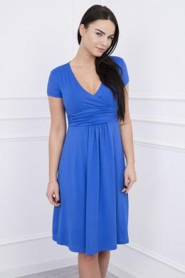 Suknelė su lengvai aptemta zona po krūtine, trumpomis rankovėmis (Rugiagėlių spalva)