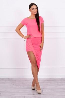 Asimetriška suknelė (Rožinė) (Neoninė)